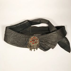 Funky Vintage Hand Made Leather Wrap-Tie Belt